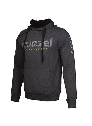 Hummel Hummel 9208982508 Forcel Kapüşonlu Cepli Baskılı Sweatshirt Siyah
